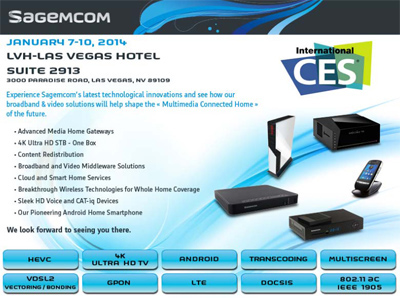 CES 2014: Sagemcom is the first global manufacturer to